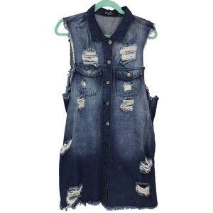 Denim Flavour Distressed Grundge Button up Dress